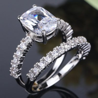 Radiant Cut White Sapphire Unique Bridal Ring Sets