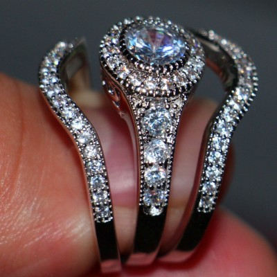 Round Cut Vintage Bridal 3 Piece Ring Sets