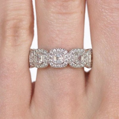 Asscher Cut White Sapphire Halo 925 Sterling Silver Bridal Sets