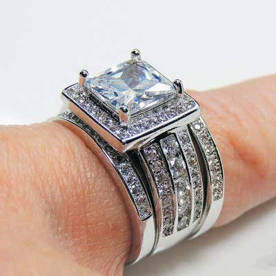 Princess Cut White Sapphire 925 Sterling Silver 3-Piece Bridal Sets