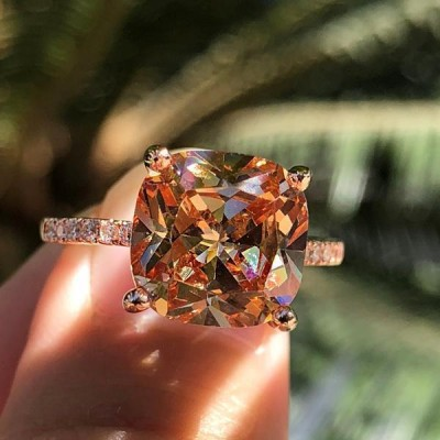 Cushion Cut Orange Sapphire Rose Gold 925 Sterling Silver 3-Piece Bridal Sets