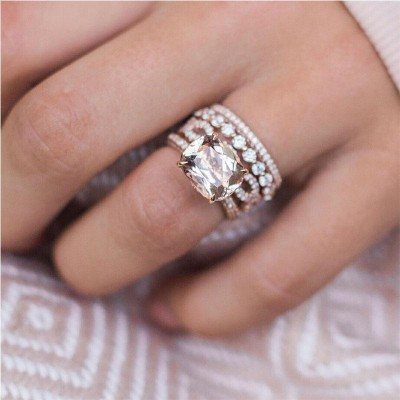 11.27CT Cushion Cut Champagne Sapphire Rose Gold 925 Sterling Silver Bridal Sets