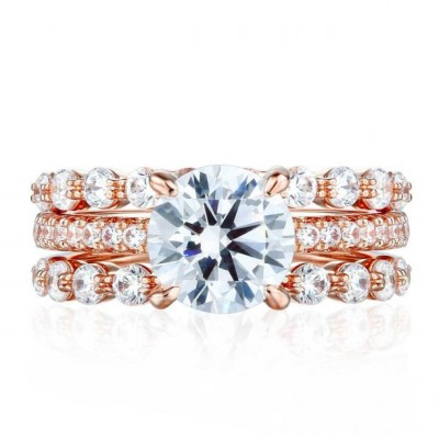 Round Cut White Sapphire 925 Sterling Silver 3-Piece Rose Gold Bridal Sets