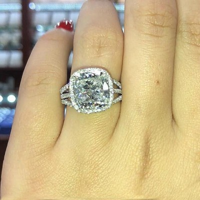 Cushion Cut White Sapphire 925 Sterling Silver Halo 3-Piece Bridal Sets