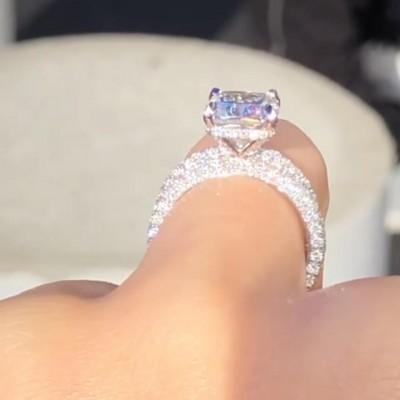 7.2CT Cushion Cut White Sapphire 925 Sterling Silver Bridal Sets