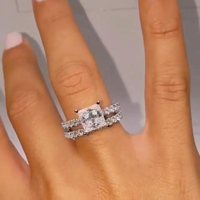 Princess Cut White Sapphire 925 Sterling Silver Bridal Sets