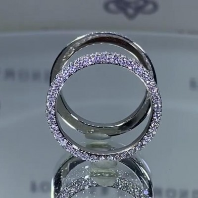 2.53CT Round Cut White Sapphire 925 Sterling Silver Double Bands