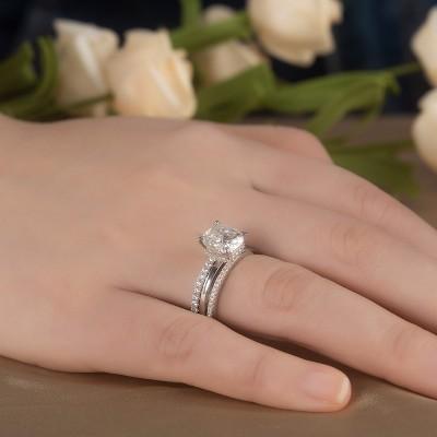 Cushion Cut White Sapphire 925 Sterling Silver 3-Piece Bridal Sets