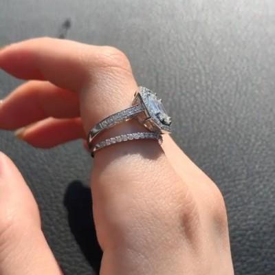 Emerald Cut White Sapphire 925 Sterling Silver 2-Piece Halo Bridal Sets