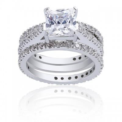 Princess Cut White Sapphire 925 Sterling Silver 3-Piece Bridal Sets