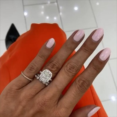 Cushion Cut White Sapphire 925 Sterling Silver 3-Piece Halo Bridal Sets