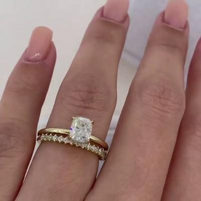 Cushion Cut White Sapphire 925 Sterling Silver Gold Bridal Sets