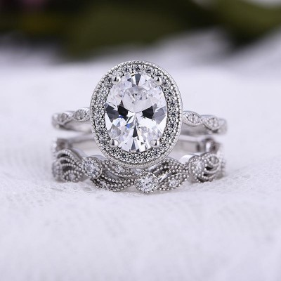 Oval Cut White Sapphire 925 Sterling Silver Halo 2-Piece Bridal Sets