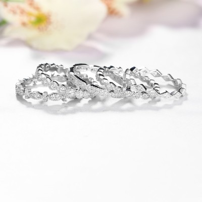 5 Pieces Round Cut White Sapphire Stack Eternity Bands Sets