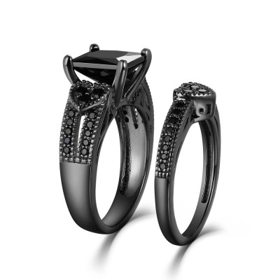 Princess Cut Heart Side Created Black Bridal Sets