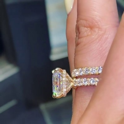 6.8CT Radiant Cut White Sapphire 925 Sterling Silver Gold Bridal Sets