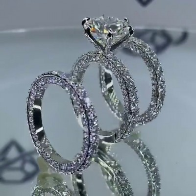 6.4CT Round Cut White Sapphire 925 Sterling Silver 3-Piece Bridal Sets