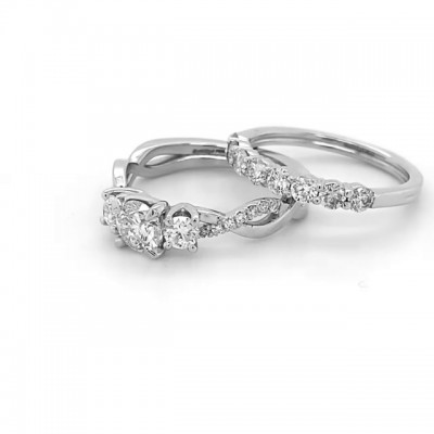 Round Cut White Sapphire 925 Sterling Silver Infinity 3-Stone Bridal Sets