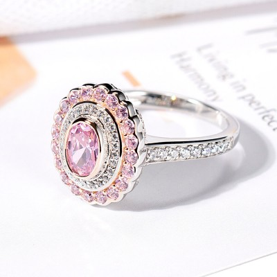 Oval Cut Pink Sapphire 925 Sterling Silver Double Halo Engagement Rings