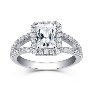 Emerald Cut 925 Sterling Silver Halo White Sapphire Engagement Rings