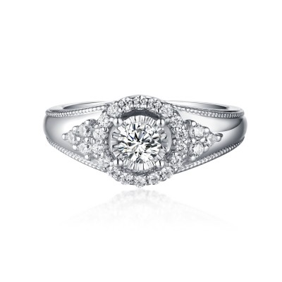 Round Cut S925 Silver White Sapphire Halo Engagement Rings