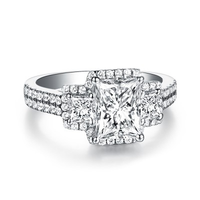 Emerald Cut White Sapphire Three Stone 925 Sterling Silver Engagement Rings