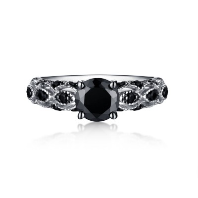 Round Cut 925 Sterling Silver Black Sapphire Engagement Rings