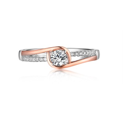 Round Cut Rose Gold 925 Sterling Silver White Sapphire Engagement Rings