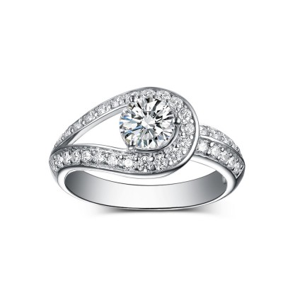 Unique Round Cut 925 Sterling Silver White Sapphire Engagement Rings