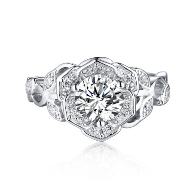Round Cut S925 Silver White Sapphire Art Deco Engagement Rings