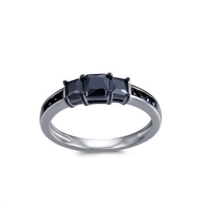 1CT Princess Cut Black Gemstone Sterling Silver Engagement Ring