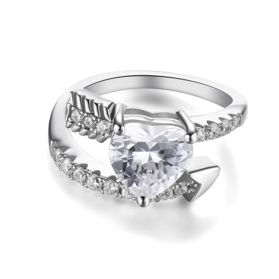 Heart Cut Gemstone Sterling Silver Cocktail Ring