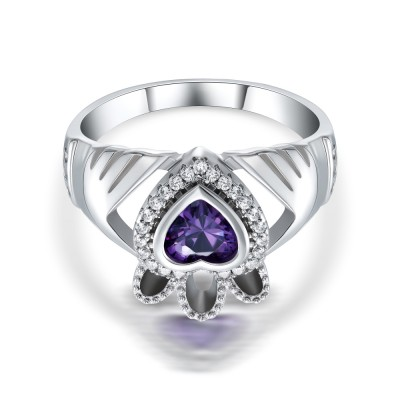 Heart Cut Amethyst 925 Sterling Silver Promise Rings For Her