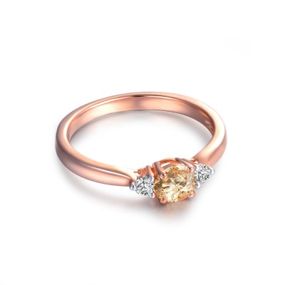 Simple Round Cut Topaz Sapphire 925 Sterling Silver Women's Ring