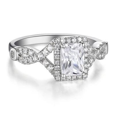 Emerald Cut White Sapphire Sterling Silver Women's Engagement Ring