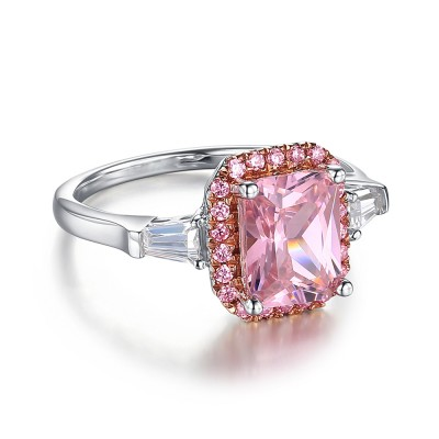 Radiant Cut Pink Sapphire 925 Sterling Silver Engagement Ring
