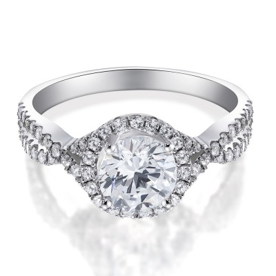 Women's Round Cut White Sapphire Sterling Silver Engagement Ring