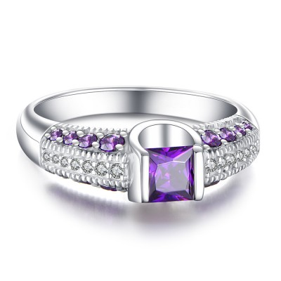 Princess Cut Amethyst 925 Sterling Silver Women's Engagement Ring