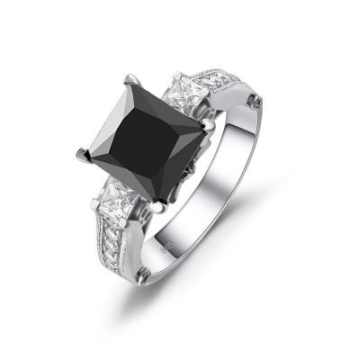 Princess Cut Black Gemstone 925 Sterling Silver Engagement Ring