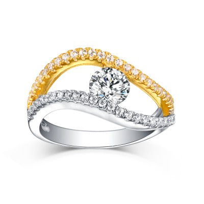 Round Cut White Sapphire S925 Silver Gold and Silver Rings