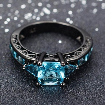 Princess Cut Aquamarine Black Engagement Rings