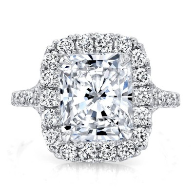 Emerald Cut White Sapphire 925 Sterling Silver Halo Engagement Ring