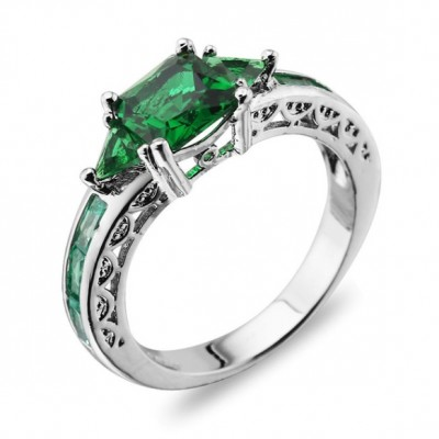 Cushion Cut Green Sapphire Vintage Engagement Ring