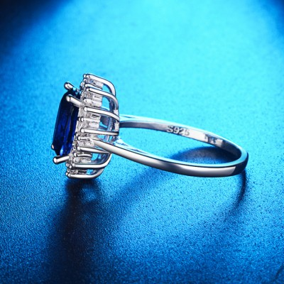 Oval Cut Blue Sapphire Halo Classic Engagement Ring