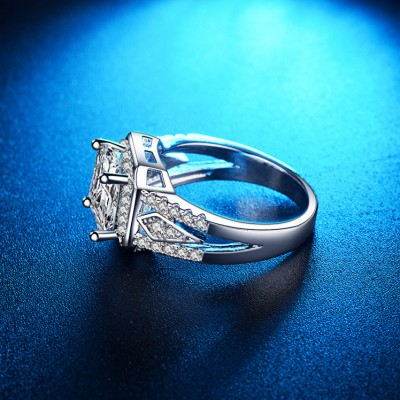 Cushion Cut White Sapphire Halo Engagement Ring