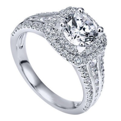 Round Cut 0.75 Carat White Sapphire Sterling Silver Double Halo Engagement Rings (Moissanite Available)