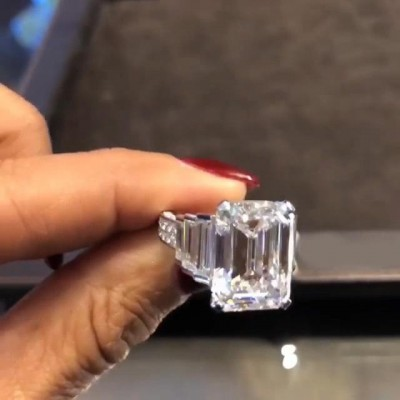 Emerald Cut White Sapphire 925 Sterling Silver 3-Stone Engagement Rings