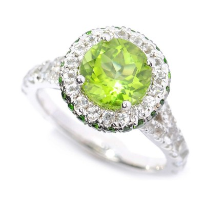 Round Cut Peridot 925 Sterling Silver Halo Birthstone Rings