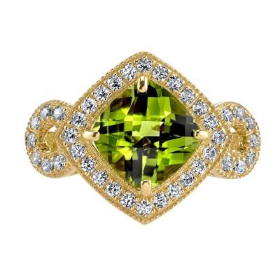 Cushion Cut Peridot 925 Sterling Silver Gold Halo Birthstone Rings