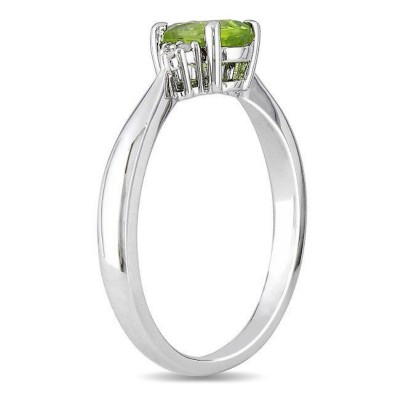 Oval Cut Peridot 925 Sterling Silver Birthstone Rings